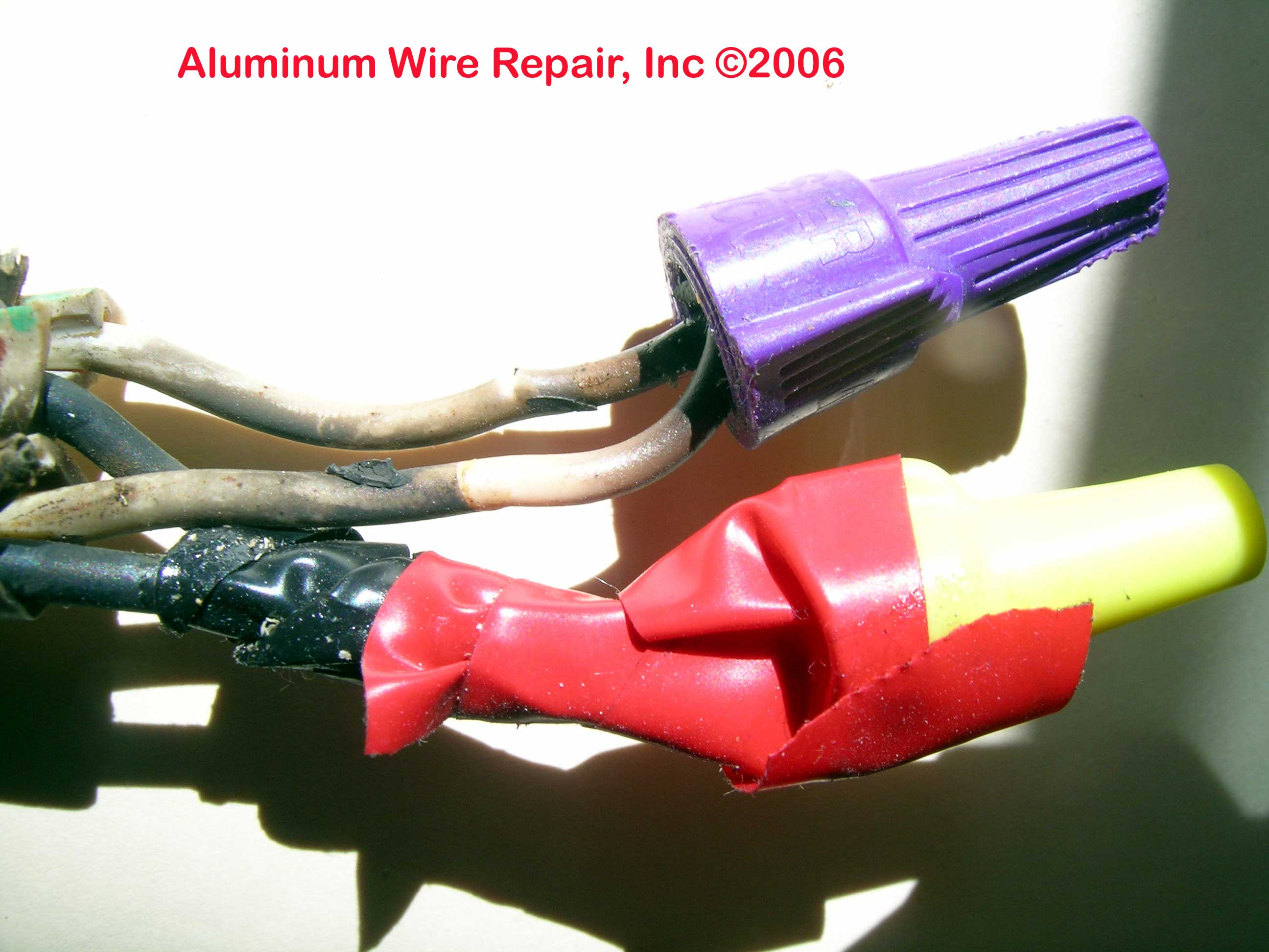 burned purple wirenuts found in the field aluminum wire repair inc rh alwirerepair com Knob and Tube Wiring Residential Aluminum Wiring