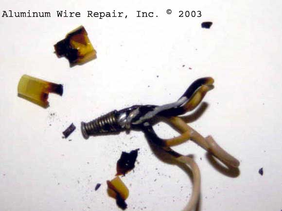Examples of Burnt Wire Nuts - Aluminum Wire Repair, Inc.
